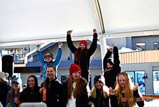 Dasha Romanov of Loveland Ski Club (left on podium) celebrates after taking second at the Prater Cup U-14 Junior Championships qualifier in Crested Butte from Feb. 18-21.