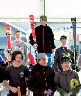 Loveland Ski Club racer Peter Dohr (right on podium) after earning third place at the Prater Cup U-14 Junior Championships qualifier in Crested Butte from Feb. 18-21.