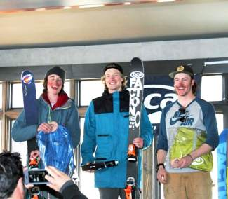 Summit County native Pierce McCrerey (center) after winning the inaugural Colorado Collegiate Freeride Championships at Aspen-Snowmass from March 19-20.