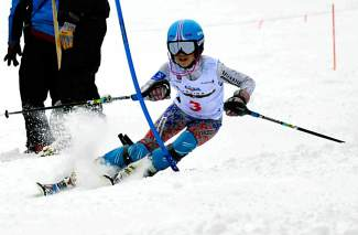 Loveland Ski Club U-14 skier Dasha Romanov in the gates at the U-14 Ski Championships at Winter Park from March 11-16. Romanov placed third overall in the girl's Kombi to earn an invite to the U-14 CanAm Championships.