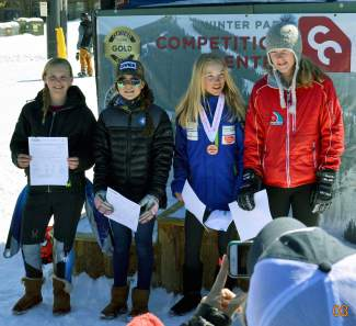 Loveland Ski Club's Dasha Romanov (second from left) after earning an invite to the U-14 CanAm Championships with a third-place finish at the U-14 Ski Championships in Winter Park in mid-March.