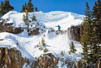 Summit County native Pierce McCrerey makes his way through the sketchy upper section of the venue at the Colorado Collegiate Freeride Championships in Aspen-Snowmass from March 19-20. McCrerey took first place.