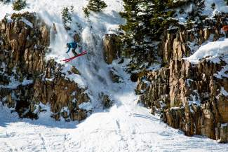 Pierce McCrerey, of Summit County, utterly destroys one of the nastiest lines at Aspen-Snowmass during his finals run at the first-ever Colorado Collegiate Freeride Championships from March 19-20. McCrerey won first place for his line.