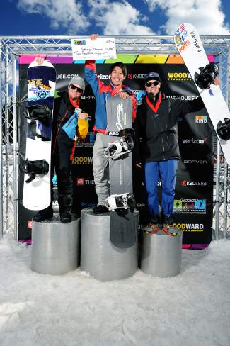 The male podium for the Nor Am boardercross finals at Copper on April 3 (left to right): 1. Shinya Momono (JPN) 2. Mike Dierdorff (USA) 3. Alex Diebold (USA). Winners split a prize purse of $2,500.