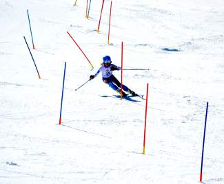 Loveland Ski Club slalom star Dasha Romanov on her way to a third-place finish at the Can Am slalom finals in Sugarloaf, Maine on March 26.