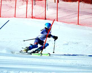 Loveland Ski Club athlete Dasha Romanov on the slalom course for the Can Am finals in Maine on March 26. Romanov capped off a highly successful season with third at the event.