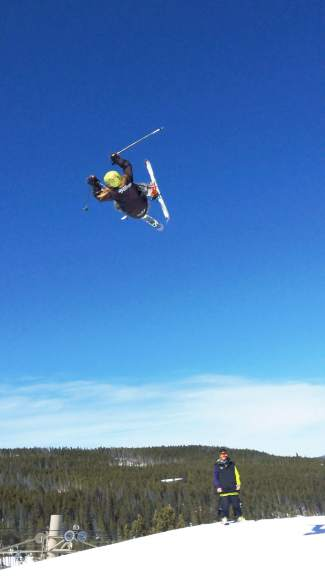 Team Breck's Axl Bonnenberger floats over a hit at Breckenridge at a training session last season.