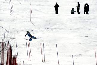 Team Breck alpine racer Jenna Sheldon at a slalom race last season.