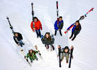 The latest crop of all-star alpine and freeski athletes from Team Breck and Team Summit Colorado ( clockwise from top left): Jenna Sheldon, Zach Elsass, Jason Tilley, Jordan Watts, RJ McLennan, Bridget O'Brien, and Axl Bonnenberger.