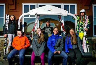 Ski club athletes, from left to right, Jenna Sheldon, Zach Elsass, Bridget O'Brien, RJ McLennan, Jason Tilley, Jordan Watts, and Axl Bonnenberger.