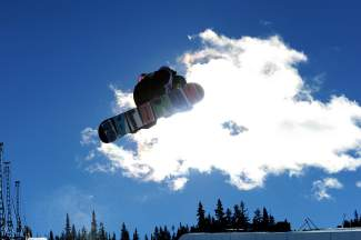 Team Summit's Blake Moller at a U-13 snowboard halfpipe competition last season.