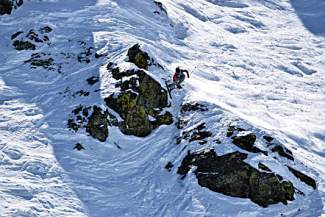 Team Summit's Grifen Moller drops a line on Peak 6 during a big-mountain ski competition last season.