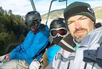 Let's get this party started (from left): Dade, Roan and JB Bissell at Keystone on Nov. 25, 2015 for the first day of their adventure to ski every Colorado ski area in one season.