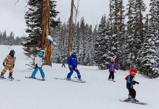 Beaver Creek ski instructor Todd Stachel leads a group of students last season. On Jan. 8, all Summit County resorts (and those in Eagle County) join with 160 others to set the world record for largest ski lesson.