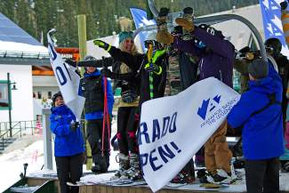 The first chair at Arapahoe Basin takes off a little before 9 a.m. on opening day, Oct. 29. A-Basin and Loveland Ski Area shared first-chair honors, drawing thousands of skiers and snowboarders for the official kick-off to ski season in Colorado.