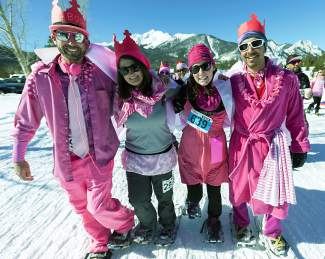 A group reps the pink pride at the Snowshoe for the Cure event in Frisco in 2015. The event returns this year on March 5 with a 3K, 5K and fun run at the Frisco Nordic Center.