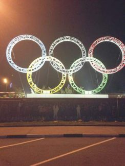 The Olympic rings are one of the first things that greet travelers when they arrive at the Sochi airport.