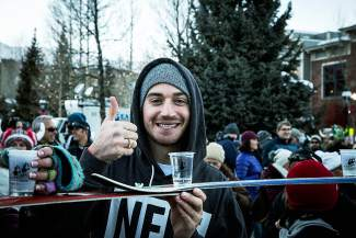 An enthusiastic participant lines up to be part of the Ullr Fest shot ski world record in Breckenridge.
