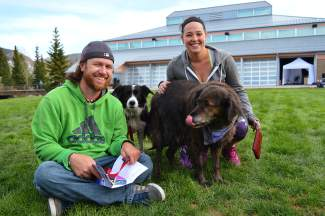 Bran and Taylor hung out with their dogs near the Riverwalk Center during the WAVE festival.