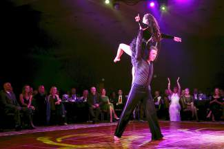 Local Craig Simson dances with professional dancer Erica Arnold at the eighth annual Dancing with the Mountain Stars Saturday, Sept. 26. Simson took the people's choice award at the event.