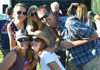 Lori Adis, Kerri Rougemont, Brooke Roberts and Jody Thompson enjoyed the sunshine and the tunes by Funkiphino at the Fall Fest event on Saturday, Sept. 12 at the Frisco Bay Marina.