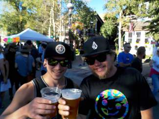 Adam and Nathan celebrate Oktoberfest in Breckenridge.