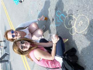 Jess and CC chalk the sidewalk at Breckenridge Oktoberfest, Sept. 11-13.