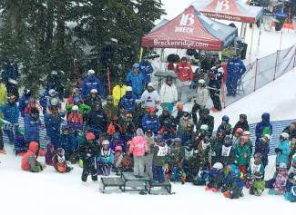 Young big-mountain ripper gather at the bottom of Contest Bowl for the podium presentation at the youth Royal Flush Breck All-Mountain Challenge on March 12.
