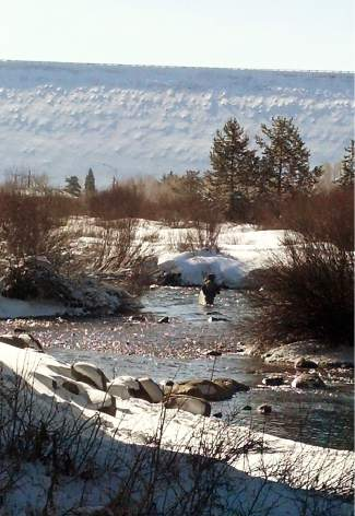 An angler casts on a chilly river with snow still patched across the banks. Recent snowmelt has made Summit County rivers a bit too fast for most flys and streamers, and so locals have set their sights on waters to the south in Park County.