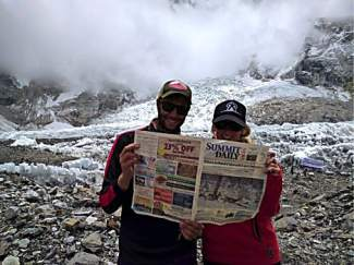 Drew and Molly Mikita at Mount Everest base camp in Nepal.