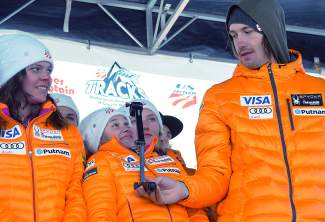 Members of the U.S. Alpine Ski Team's developmental squad play around with a GoPro during the team naming ceremony in Copper on Nov. 21.