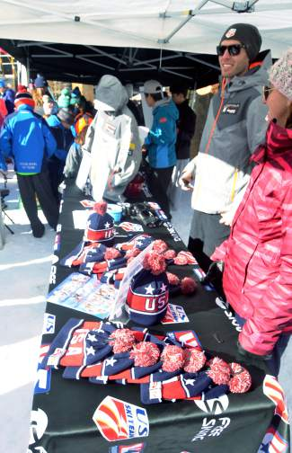 The U.S. Ski Team swag table in Center Village at Copper before the team naming ceremony on Nov. 21.