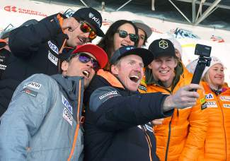 Two-time Olympic gold medalist Ted Ligety (center, with camera) takes a selfie with a few of his closest (and fastest) friends during the U.S. Ski Team naming ceremony at Copper Mountain on Nov. 21. Ligety was joined by more than 30 developmental team members and fellow superstars like Mikaela Shiffrin and Lindsey Vonn.