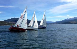 The red, white and blue: A perfect day for J-boats on Lake Dillon this Sunday.