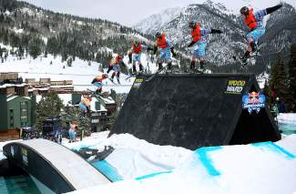 A skiehits the wallride at the 2015 Red Bull SlopeSoakers rail jam at Copper, an open even with rails and other jibs spread over a pool. The event returns this spring on weekend April 16-17.