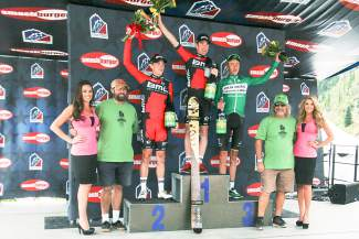 The podium for Stage 2 at Arapahoe Basin (left to right): Rohan Dennis (BMC) in second, Brent Bookwalter (BMC) in first and Jonny Clarke (United Healthcare) in third.