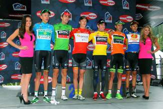 The 2015 USA Pro Challenge leaders after Stage 2 from Steamboat Springs to Arapahoe Basin (left to right): Stage 2 Best Young Rider Hugh Carthy (CJR), overall sprint leader Taylor Phinney (BMC), Stage 2 sprint winner Robin Carpenter (HSD), Stage 2 winner and overall leader Brent Bookwalter (BMC), Stage 2 KOM winner and overall leader Will Routley (Optum), and Stage 2 Best Colorado Rider winner Alexandr Braico (MDA).