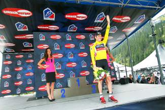 Brent Bookwalter of BMC Racing after taking the yellow leader's jersey with a Stage 2 win at Arapahoe Basin on Aug. 18.