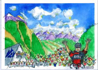 A watercolor of the USA Pro Challenge Stage 2 finish at Arapahoe Basin on Aug. 18, with winner (and now overall favorite) Brent Bookwalter of BMC Racing celebrating in the foreground. Artist Rob Philippe finished the painting about three hours after Bookwalter crossed the line.