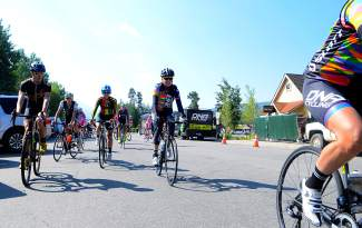 A group of cyclists led by the DNA women's professional team leaves Cuppa Joe in Breckenridge for a recon ride along Moonstone Road on Aug. 20. The team arrived in town a day before the debut of the Women's Pro Challenge with the Breckenridge time trial on Aug. 21.