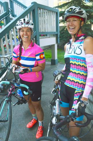 Vega Brhely (left) and Kelly Dantas prepare to head out on a community ride with nearly 20 professional female cyclists on Aug. 20 before the debut of the Women's Pro Challenge on Aug. 21.