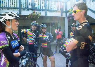 Nick Frey of Boo Bicycles (far right) chats with members of the DNA women's cycling team at Cuppa Joe in Breckenridge before a community ride with more than 20 professional cyclists to get ready for the Women's Pro Challenge debut on Aug. 21.