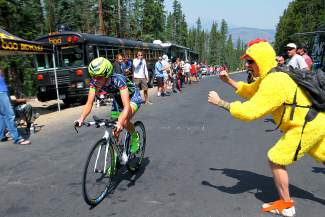 Chickens, banans and more came to Moonsteon Road to cheer on cyclists during the Breckenridge time trial for Stage 5 of the USA Pro Challenge on Aug. 21.