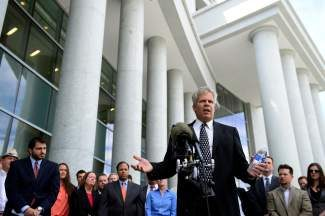 Attorney Gary Pirosko, of the Colorado Criminal Defense Bar, speaks at the Ralph Carr Judicial Center in Denver on Monday, June 10, 2013. Potentially thousands of drunken-driving convictions in Colorado could be appealed because of problems at a state laboratory, defense lawyers said Monday, but prosecutors called that an overstatement. (AP Photo/The Denver Post, AAron Ontiveroz) MAGS OUT; TV OUT; INTERNET OUT; NO SALES; NEW YORK POST OUT; NEW YORK DAILY NEWS OUT
