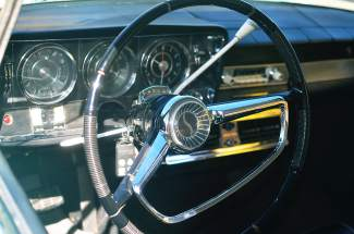 Interior shot of a classic Studebaker.