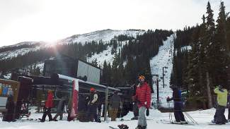 By 9:30 a.m on opening day, the line at Loveland's Lift 1 was welcoming and mellow, while over at A-Basin the wait for Black Mountain Express was about 15 minutes. Shot by @sumcosports