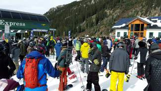 The typical opening day lift line at Black Mountain Express at Arapahoe Basin on Oct. 29, shot by @sumcosports