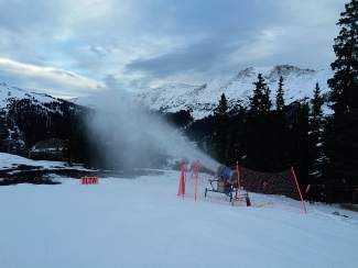 The A-Basin snowmaking crew was blowing snow until about 8 a.m. on opening day to prep High Noon for the masses, shot by @arapahoe_basin