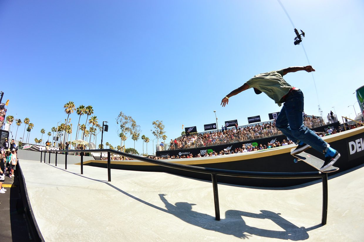 Ishod Wair on the street course at summer Dew Tour in Long Beach, California this July.