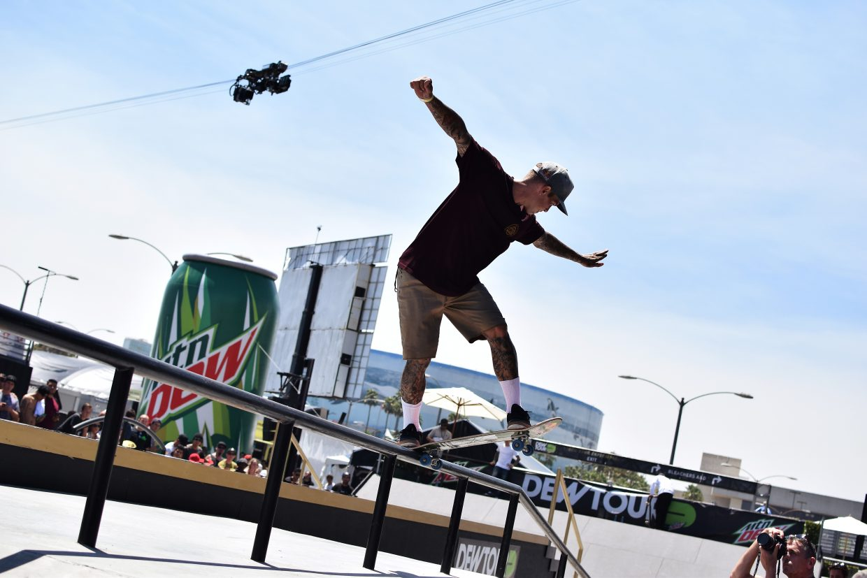 Ryan Sheckler on the street course at summer Dew Tour in Long Beach, California this July.